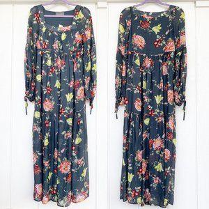 NWT Anthropologie Evelin Green Maxi Dress XS